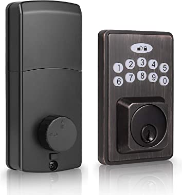 DECORITEN Electronic Deadbolt with Keypad Entry Door Lock in Oil-Rubbed Bronze Finish, Keyless Electronic Keypad Lock Exterio