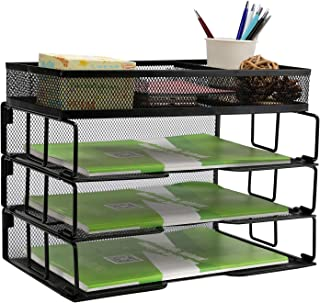 $21 » ProAid Mesh Desk Organizer with Sorter, 3 Tier Stackable Letter Paper Trays, Black