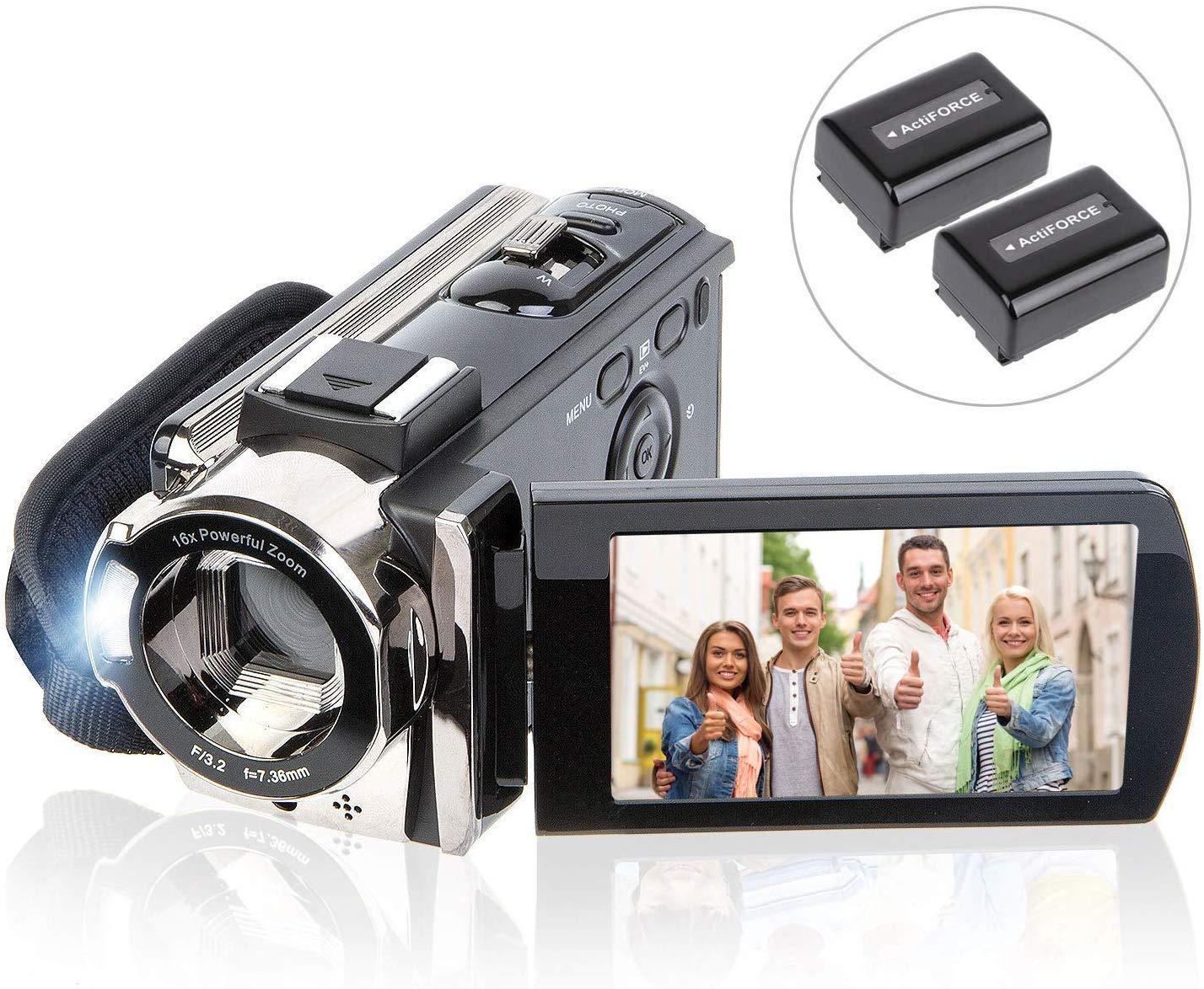 Camcorder Vlogging Recorder Rotation Batteries