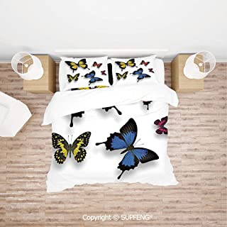 SCOXIXI Bed Cover Set Pattern of Various Colorful Butterflies and Moths Grace of Nature Wings Home Decor Decorative (Comforter Not Included) Soft, Breathable, Hypoallergenic, Fade Resistant