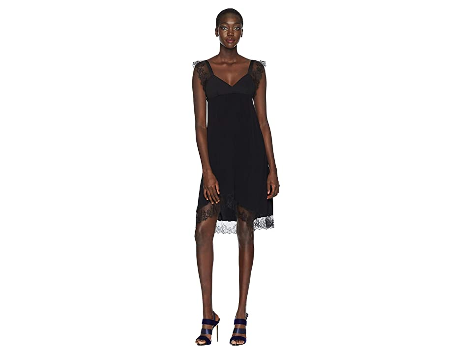 Neil Barrett Crepe de Chine/Lace Dress (Black) Women