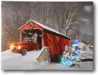 Vintage Red Truck lighted and musical Canvas Print wall art