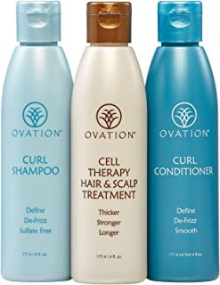 Ovation Curl Cell Therapy System - Salon Quality - Get Stronger, Fuller & Healthier Looking Hair with Natural Ingredients. Includes Curl Therapy Treatment Shampoo and Curl Conditioner