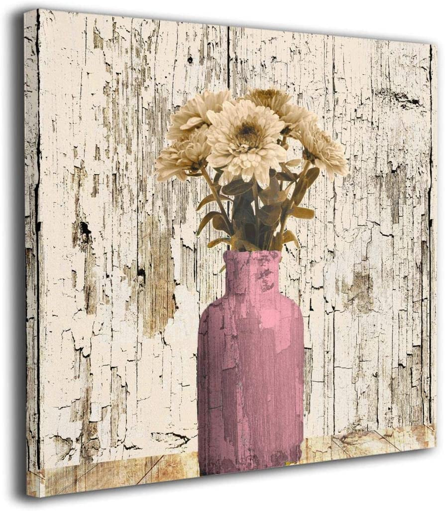 Amazon Com 12 X12 Canvas Wall Art Prints Adorable Yellow Gray Daisy Flower Bubbles Bathtub Rustic Farmhouse Shower Bathroom Photo Paintings Modern Decorative Giclee Artwork Decor Wood Frame Gallery Stretched Posters Prints
