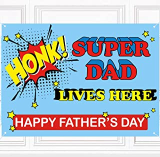 Happy Fathers Day Banner - Honk! Super Dad Lives Here Fathers Day Backdrop Banner Party Decorations Supplies - Fathers Day...