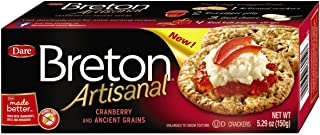 Dare Breton Artisanal Crackers, Cranberry and Ancient Grains - Party Snacks with no Artificial Colors or Flavors, 0g of Trans Fat Cholesterol per Serving – 5.29 Ounces (pack of 6)