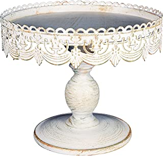 Home Decor Essentials 65569-68766 castellated Decorative Cake Stand, 10 x 9, white wash