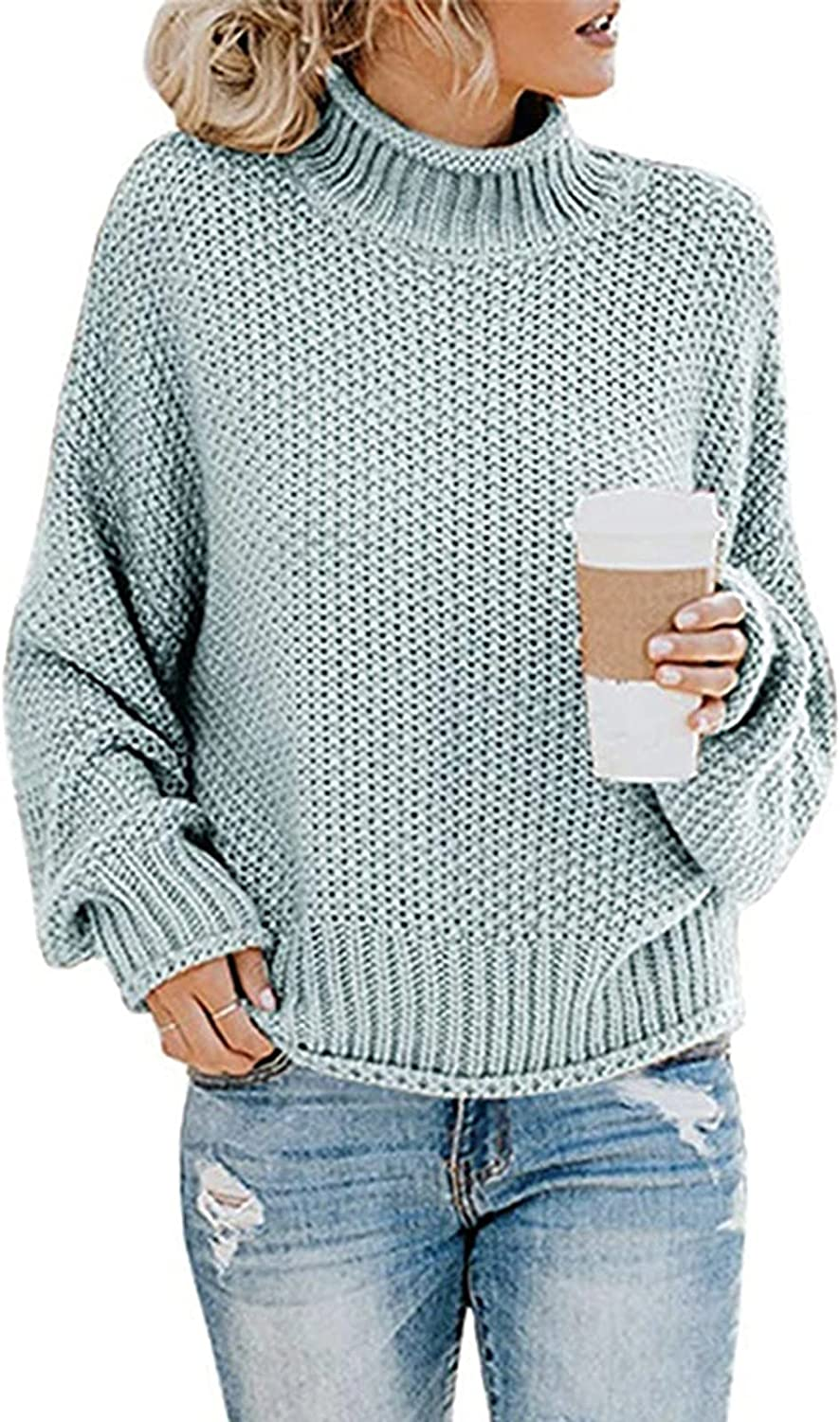 LINKIOM Sweaters for Women Casual Loose Long Sleeve Tops Solid Color Stitching Crewneck High Neck Sweater Pullover