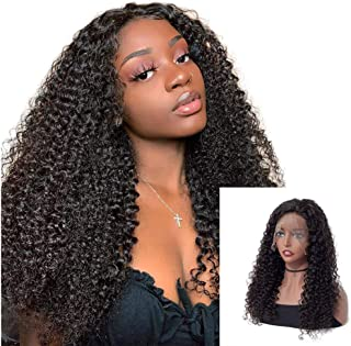 ISEE Hair 13x4 Lace Front Human Hair Wigs Mongolian Kinky Curly Wigs Pre Plucked with Baby Hair Natural Color for Black Women (14
