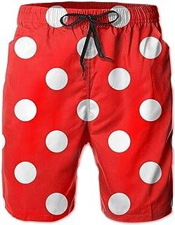 SARA NELL Men's Swim Trunks Polka Dot Red Surfing Beach Board Shorts Swimwear