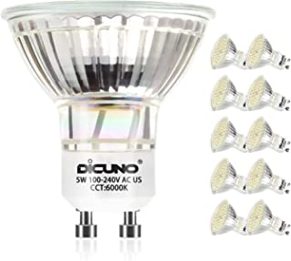 DiCUNO GU10 LED Bulb 5W 500LM Daylight White 6000K 220V Non-dimmable Energy Saving Lamp Chandelier Pack of 10