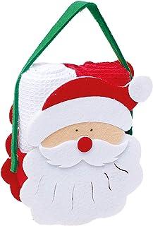 Toalha de Mão para Copa, Jogo c/ 2 Toalhas e 1 Bolsinha de Papai Noel, Cromus