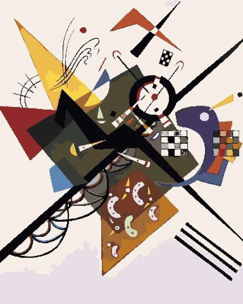 Pintura por Números Kits Para Adultos Niños Diy Pintura al Óleo Sobre Lienzo Con Pinceles y Acrílica Pinturas(Sobre El Espíritu Del Arte de Kandinsky)40 X 50 cm(Sin Marco)