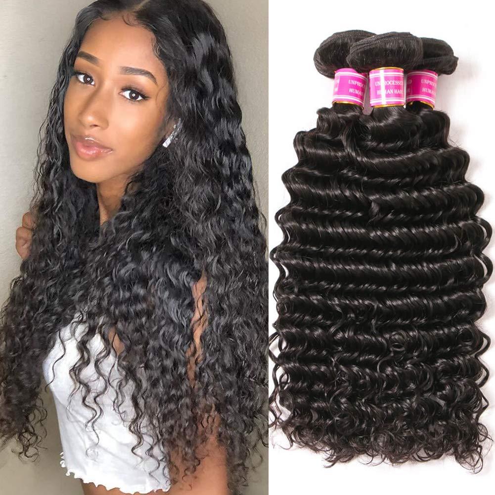 Mureen Hair Brazilian Virgin Deep Wave Human 3 Bundles Kansas Washington Mall City Mall