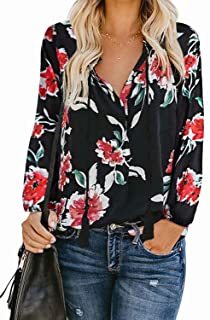 Womens Tie Front Tops 3/4 Sleeve Loose Casual Workout V...