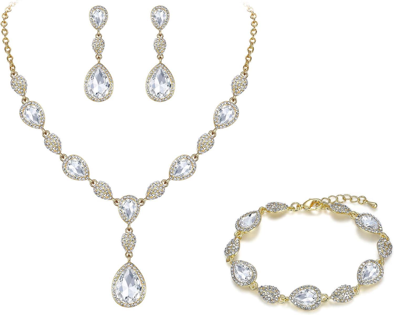 EleQueen Women's Wedding Bridal Jewelry Sets for Brides Bridesmaids, Cubic Zirconia Teardrop Necklace Tennis Bracelet Dangle Earrings Jewellery Set
