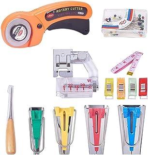 DECDEAL Conjunto de ferramentas para fabricantes de fita viés de tecido de costura 62 unidades com cortador de tecido para...