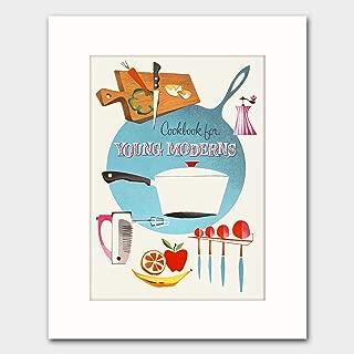 "1950s Kitchen Wall Art w/Mat (Mid Century Cookbook, Retro Cooking Print, Fun Bridal Shower Food Artwork) ""Young Moderns"""