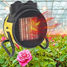 DMCSHOP Electric Garage Heater - Greenhouse Fan Heater Portable Space Heater, Adjustable Thermostat, for Grow Tent, Office, Workplace, PTC Fast Heating, Overheat Protection, Metal Base