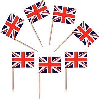 100 Piezas de Palillos de Dientes con Bandera Británica Topper de Magdalena de Bandera de Union Jack para Cumpleaños Boda FieDEZHI de Bienvenida da Bebé Día Na