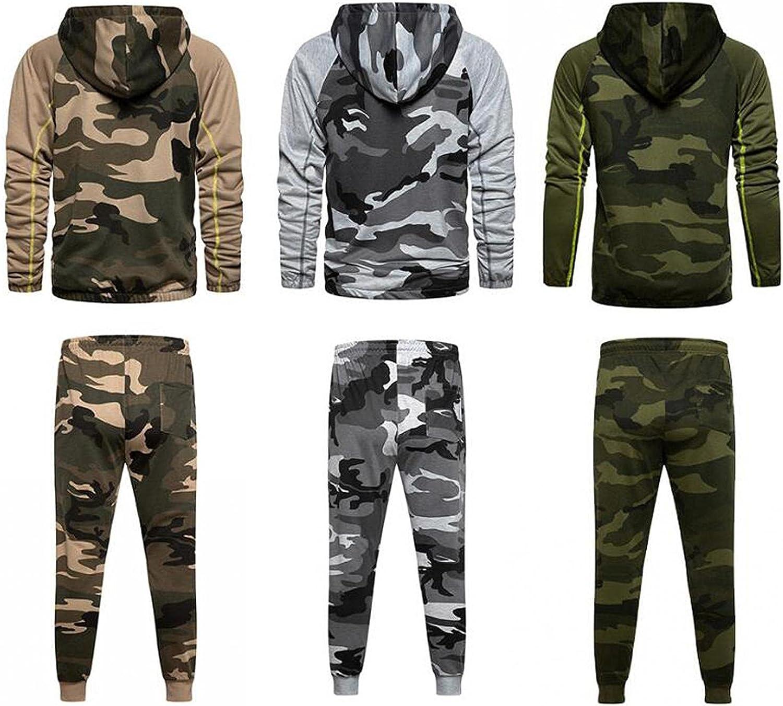 JSPOYOU Men's Camouflage 2 Piece Tracksuits Lightweight Zip Up Hoodies Sweatshirt and Elastic Waistband Pants Activewear Set