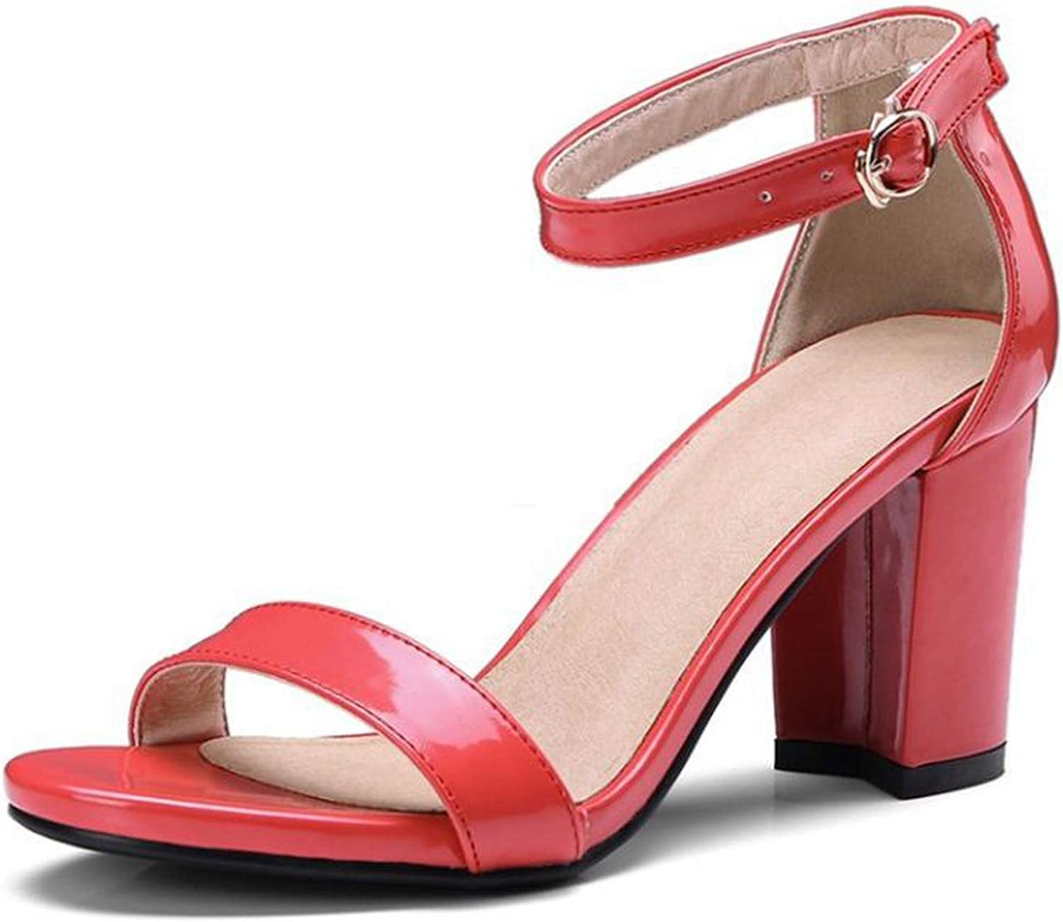 Women High Heel Sandals Ankle Strap Thick Heels Sandals Women Dress Office Lady shoes