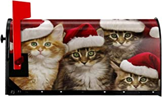 Christmas Cats Mailbox Cover - Merry Christmas Santa Cat Magnetic Mailbox Wraps Welcome Winter Kitten Post Letter Box Cover Garden Home Christmas Decorations Post Box Cover Wrapped 18
