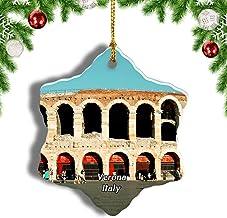 Weekino Italia Verona Arena Piazza Decoración de Navidad Árbol de Navidad Adorno Colgante Ciudad Viaje Porcelana Colección de Recuerdos 3 Pulgadas