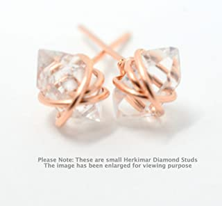 Wire Wrapped Herkimer diamond Stud Earrings in 14K Gold Filled, 14K Rose Gold Filled, Sterling Silver, Herkimer Diamond Post earrings
