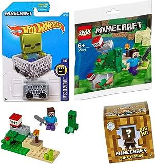 LEGO TNT Minecraft Steve & Creeper Set 30393 Bundled with Adventure Hot Wheels Minecart Car Bundled with Mini-Figure Blind Box Playset 3-Items Mine & Dig in