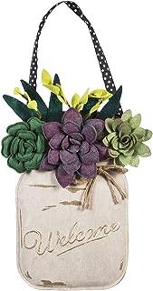 Evergreen Flag Succulents Mason Jar Burlap Door Decor
