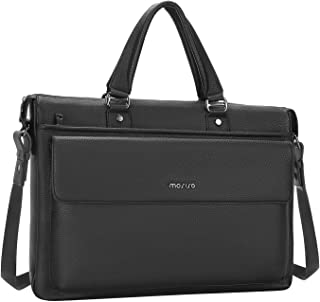 MOSISO 15.6 inch Laptop Messenger Shoulder Bag, Business Office Bag for Men Women, Water Resistant Premium PU Leather Flapover Briefcase Handbag Carrying Case Compatible with MacBook & Notebook, Black