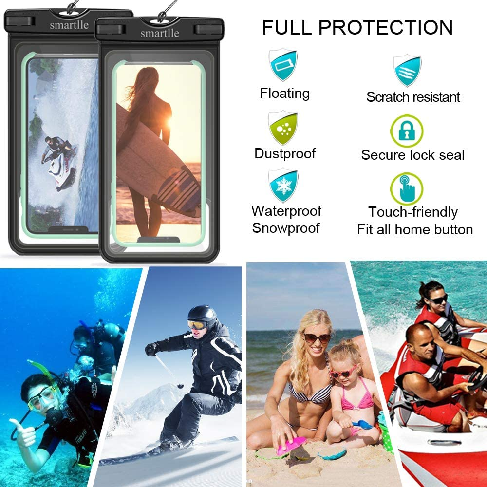 Floating Waterproof Phone Pouch, Upgraded Universal Waterproof Bag/Case, Dry bag for iPhone XS Max/XR/XS/X/8 Plus/8/7/6s Plus, Samsung Galaxy S10/S10 Plus/S9/A/J/Note, MOTO/BLU/etc, Up to 6.8''-2 Pack