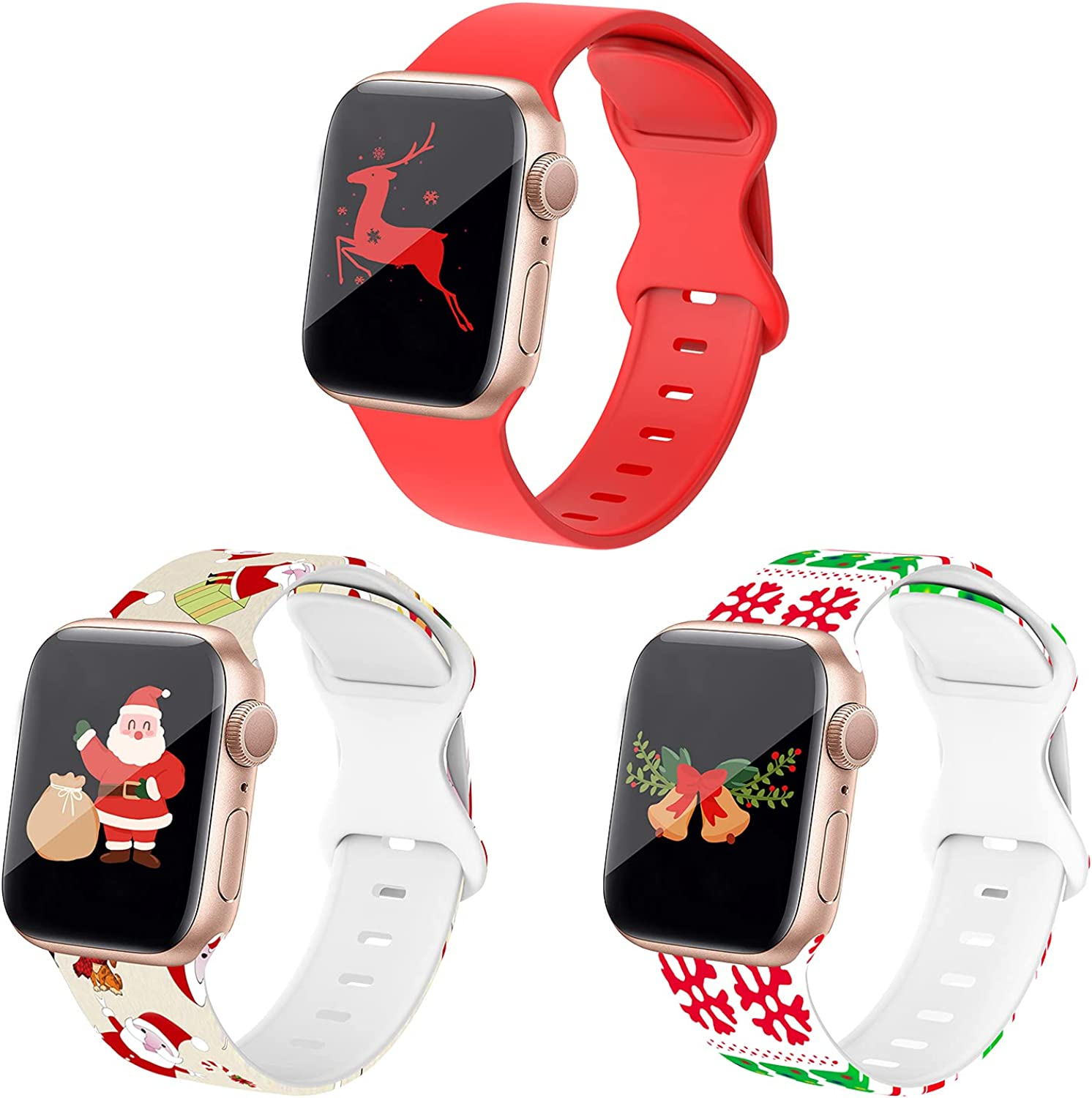 DABAOZA Compatible for Apple Watch Band 38mm 40mm 41mm 42mm 44mm 45mm[3 Pack], Sport iWatch Silicone Band Soft Replacement Women Men Strap for iWatch SE/Series 7/6/5/4/3/2/1