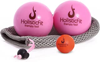 HolisticFit Therapy Massage Ball with Myofascial Release Tools. with Free Hands and Feet Mini Ball. Yoga Therapy Ball, Rubber Balls for Instant Muscle Pain Relief, Trigger Point Therapy.