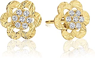 14k Yellow Gold Cubic Zirconia Tiny Halo Cluster Small Flower Stud Earrings