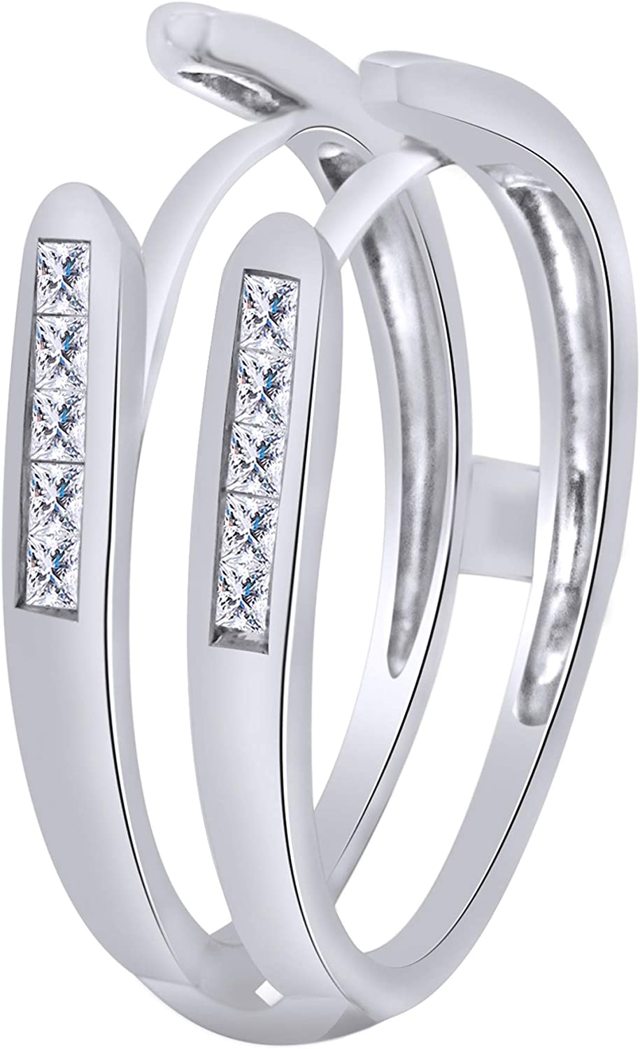 Princess Cut White Cubic Zirconia Enhancer Ring Guard For Women In 10k Solid Gold