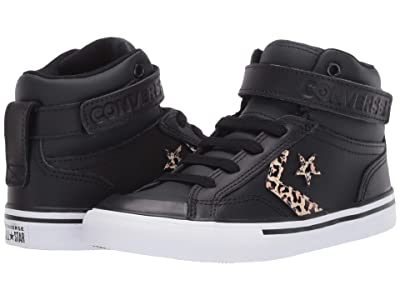 Converse Kids Pro Blaze Strap Leopard Print (Little Kid/Big Kid) (Black/Desert Ore/Rose Gold) Girl