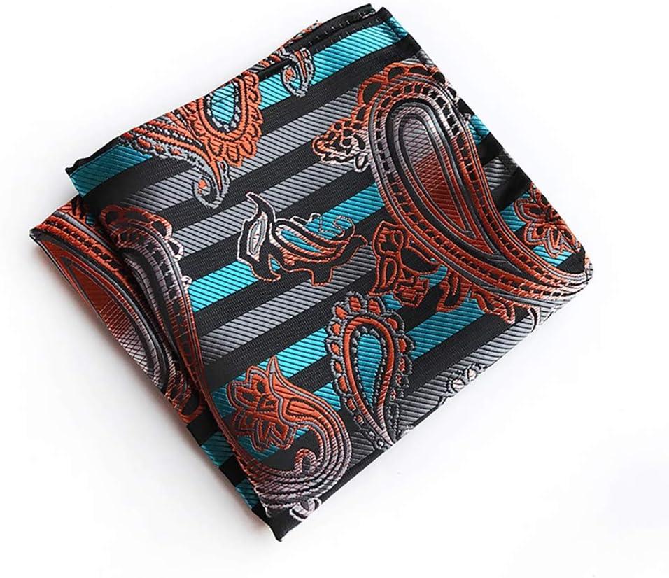 He-art Paisley Pocket Squares, Gentleman Handkerchief, Assorted Colors Hankies for Men's Dress Chest Decorative, 10x10 Inch 12pcs,3