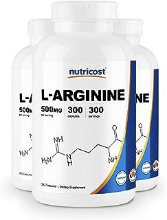 Nutricost L-Arginine 500mg, 300 Capsules (3 Bottles)
