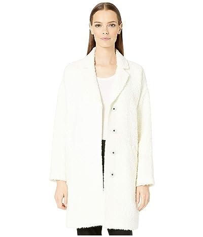 Eileen Fisher Curly Alpaca Boxy Coat (Soft White) Women