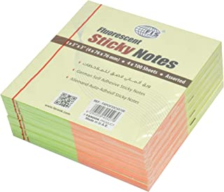FIS Sticky Note Pads, 4 Assorted Fluorescent Colors in Sets, 400 Sheets (4 Colors x 100 Sheets), 3 x 3 Inch Size - FSPOF33...