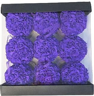 WMAOT 9pcs 3.5'' Artificial Rose Satin Flower Foam Balls for Bridal Wedding Centerpiece Party Ceremony Decoration (Purple)