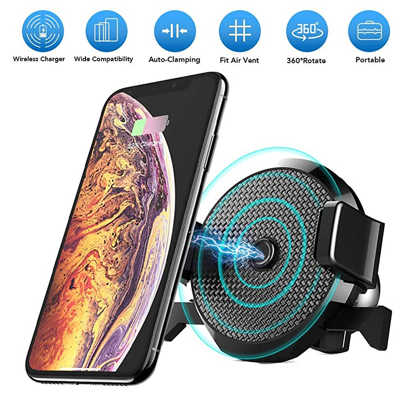 Fast Wireless Car Charger with Air Vent Phone Holder, Qi Certified, 7.5W Compatible iPhone XR/XS Max/XS/X/8/8 Plus, 10W for Galaxy S10 S9/S9+/S8/S8+/LG G7, and 5W for All Qi-Enabled Phones