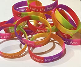 Spanish Youth Jesus Loves Me Christian Rubber Silicone Bracelets for Kids (100 Count)