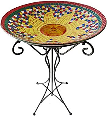 Gardener's Select A14BFG02 Mosaic Glass Bird Bath and Stand, Sun Design