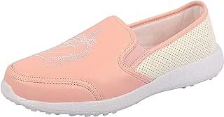 KazarMax Women's Embroidered Faux Leather Pink Unicorn Slipon Sneakers
