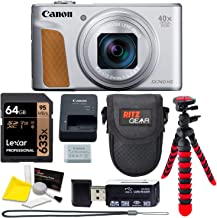 Canon PowerShot SX740 (Silver) Point and Shoot Camera, Lexar 64GB U3 Memory Card, Tripod, Case Bundle
