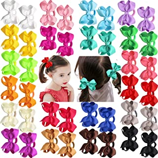 JOYOYO 40Pcs Boutique Grosgrain Ribbon Hair Bows Pigtail Holders Elastic Ties Hair Bands For Babies Toddlers Teens Gifts In Pairs
