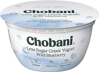 Chobani Less Sugar Greek Yogurt 5.3 ounce (Pack of 12) (Wild Blueberry)